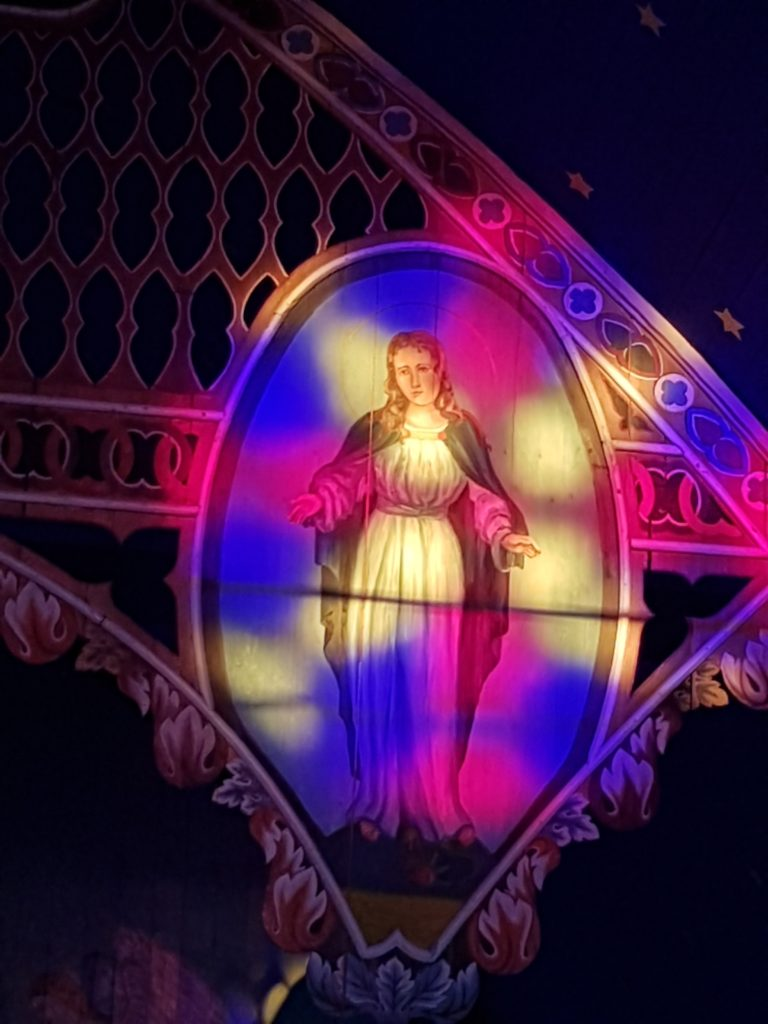 Stained Glass light on Mary